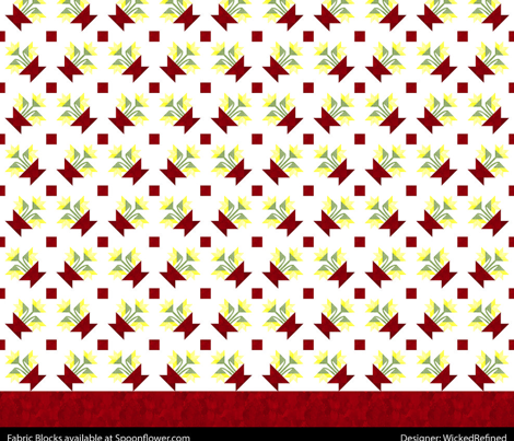 Cheater Quilt Basket Of Lilies Block 8in Yellow Red Green