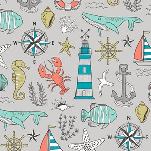Nautical Doodle with whale,lighthouse,Anchor on Light Grey