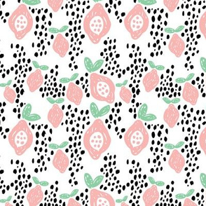 Cool scandinavian abstract topical fruit summer spring fabric mint pink
