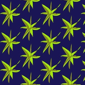 Tropical Leaves - Lime on Blue
