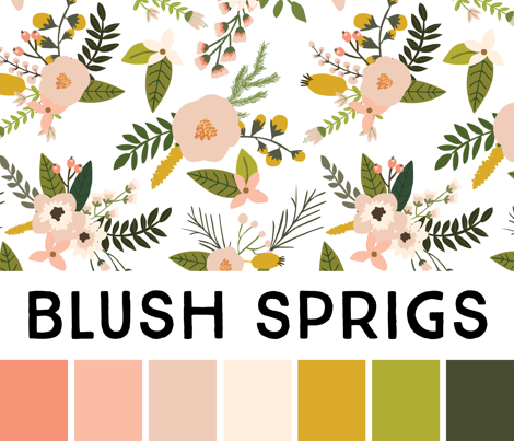 Blush Sprigs and Blooms Bébé Blanket // On White