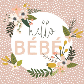 """Blush Sprigs and Blooms 2.0 Hello Bébé Blanket Scalloping Dots 56"""""""