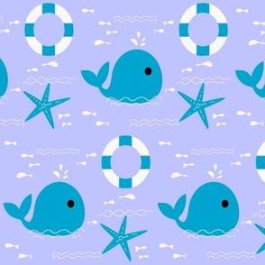 Little whale on the ocean