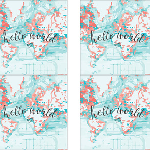 "Hello World Pillow Cover // 18"" // Coral"