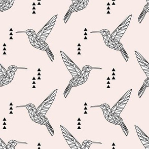 Geometric hummingbird // pale pink