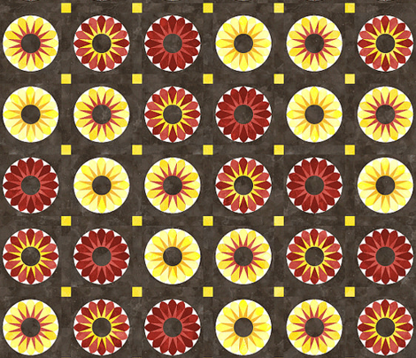 Cheater Quilt Sunflower 8in Yellow Orange Brown