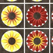 Cheater Quilt Sunflower 8in Yellow Orange Brown