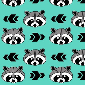 Raccoon >> Woodland Geometric Kids Baby Nursery Illustration >> Black, Grey, and Turquoise