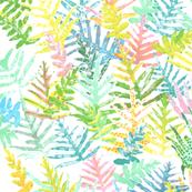 Pastel Ferns Batik on white