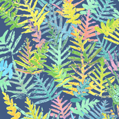 Pastel Ferns Batik on Indigo