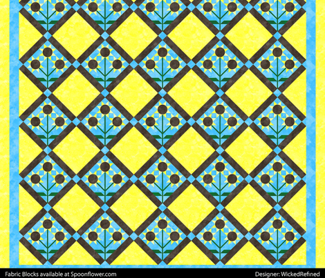 Cheater Quilt Three Flowered Sunflower Block 11in Yellow Blue Brown