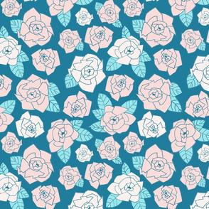 Beach Roses Aqua/Pink