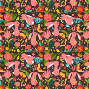 Spring rabbits brown seamless_pattern