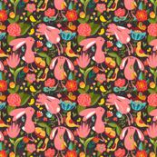 Spring rabbits brown seamless_pattern