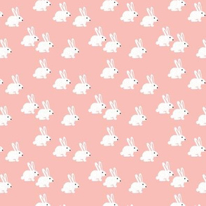 Sweet pastel bunny rabbit kids pastel scandinavian style illustration print pink XS