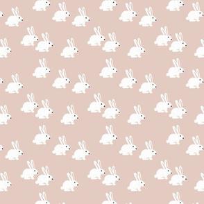 Soft pastel white bunny rabbit illustration for spring and easter kids design beige XS