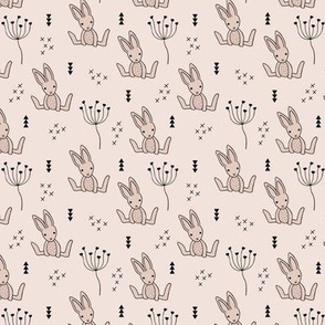 Adorable little baby bunny geometric scandinavian style rabbit for kids gender neutral soft beige XS