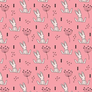 Adorable little baby bunny geometric scandinavian style rabbit for kids pink XS