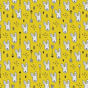Cool white bunny and geometric arrows spring easter design in gender neutral mustard yellow XS