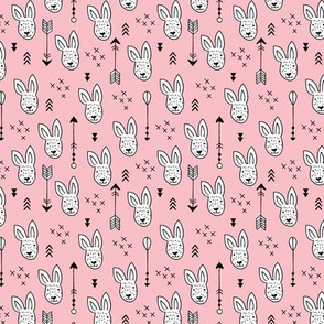 Cool white bunny and geometric arrows spring easter design in soft pastel pink XS