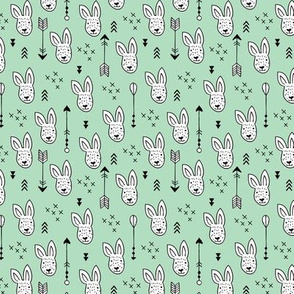 Cool white bunny and geometric arrows spring easter design in gender neutral mint green XS