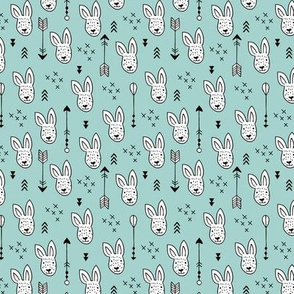 Cool white bunny and geometric arrows spring easter design in gender neutral soft blue XS
