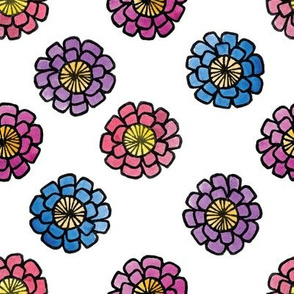 Zinnias #2, A Printed Painted Pattern