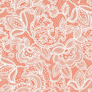 Coral Sprigs and Blooms Coordinate Lace 3