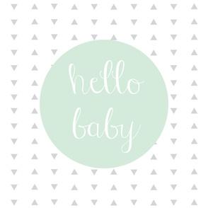 Hello Baby Mint Gray Baby Blanket