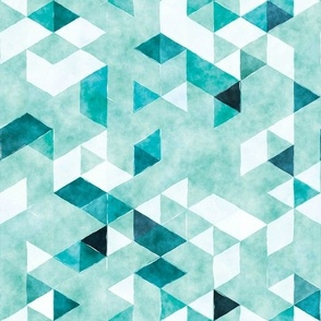 teal watercolor triangles // small // vertical