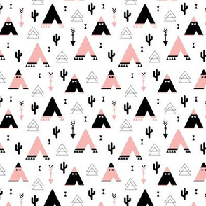 Teepee tent arrows and cactus garden cool kids geometric scandinavian style print pink girls XS