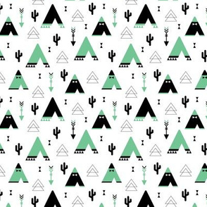 Teepee tent arrows and cactus garden cool kids geometric scandinavian style print gender neutral mint XS