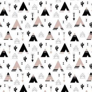 Geometric indian summer cactus teepee and arrows triangle illustration gender neutral XS