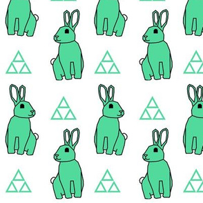 Bunny Rabbit >> Spring Easter Baby Kids Geometric Illustration Woodland >> Green and White Pastel