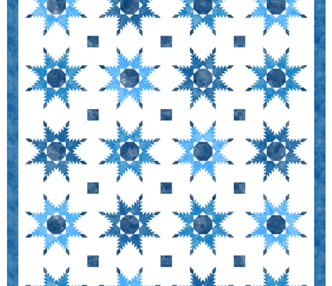 Cheater Quilt Feathered Star Block 11in Blue White