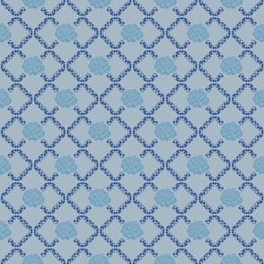 rose lattice window - china blue