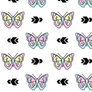 Butterfly >> Geometric Mod Baby Kids Girl Nursery Illustration >> Pastel and White