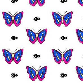Butterfly >> Geometric Mod Baby Kids Girl Nursery Illustration >> Fuchsia, Royal Blue, and Yellow