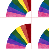 Cheater Quilt Fan Patchwork Block 11in Rainbow