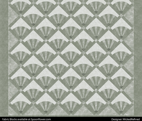 Cheater Quilt Fan Patchwork Block 11in Sage