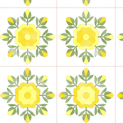Cheater Quilt Rose Bud Wreath Blocks in Yellow Green