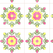 Cheater Quilt Rose Bud Wreath Blocks 8in Pink Yellow Green