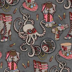 Grunge Textured Steampunk Illustrations Dark Version