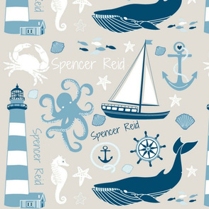 "Custom Nautical Name Fabric ""Spencer Reid"""