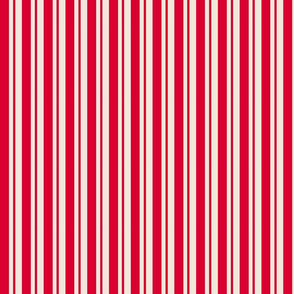 Red and Cream Thick and Thin Stripes