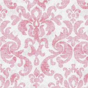 Vintage Damask in Worn Raspberry