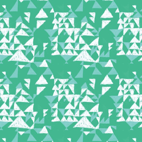 Handdrawn triangle in lawn and turquoise