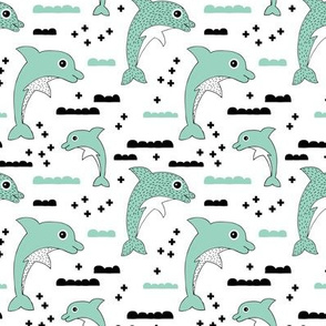 Cute kids dolphin design scandinavian style drawing with geometric crosses and water waves mint XS