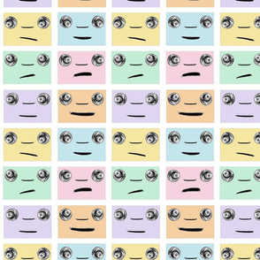 pastel faces in retro Kawaii design