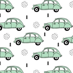 Cool vintage oldtimer cars paris collection geometric scandinavian illustration design for kids mint
